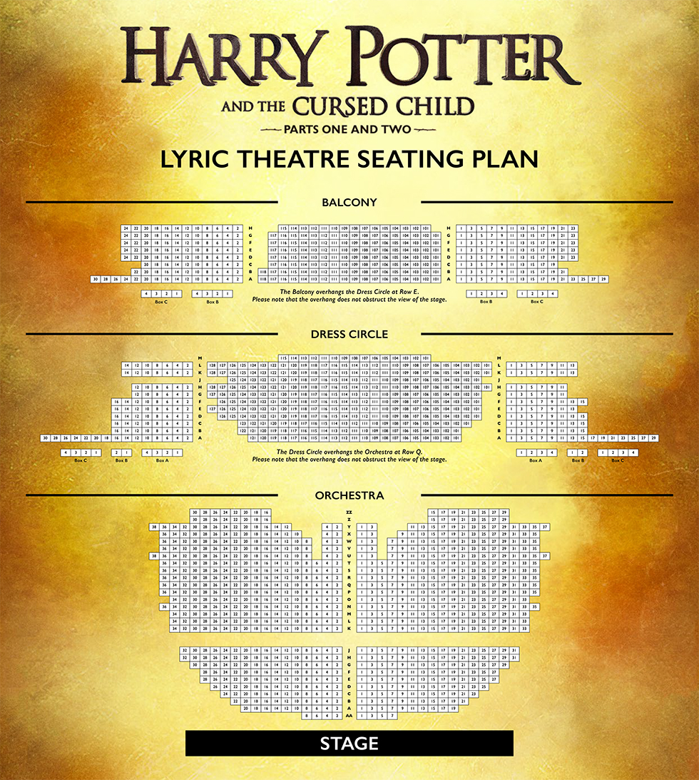 Harry Potter And The Cursed Child Seating Plan
